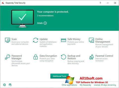 Снимак заслона Kaspersky Total Security Windows 10