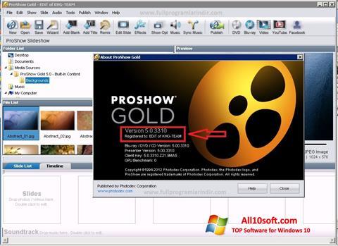 Снимак заслона ProShow Gold Windows 10