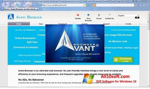 Снимак заслона Avant Browser Windows 10