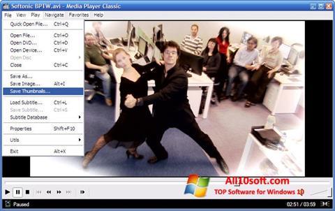 Снимак заслона Media Player Classic Windows 10