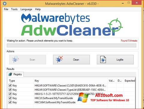 Снимак заслона AdwCleaner Windows 10
