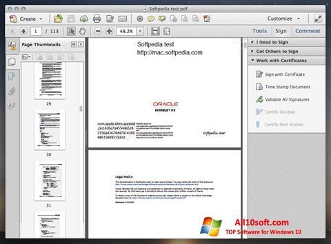 Снимак заслона Adobe Acrobat Windows 10