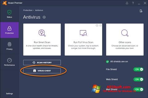 Снимак заслона Avast Windows 10