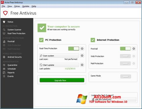 Снимак заслона Avira Free Antivirus Windows 10