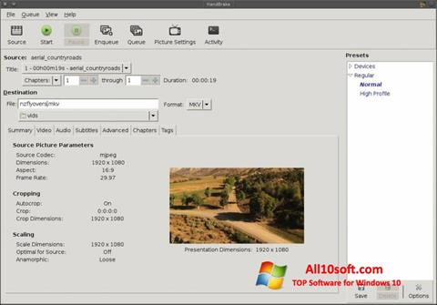 Снимак заслона HandBrake Windows 10