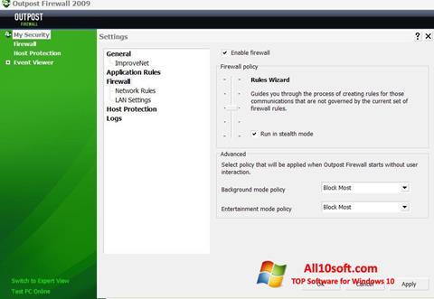 Снимак заслона Outpost Firewall Free Windows 10