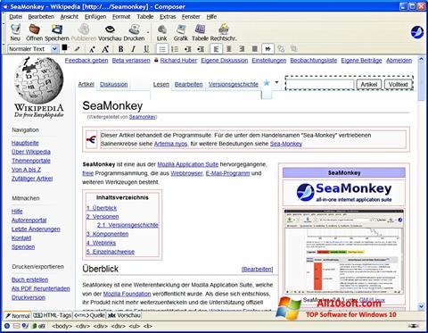 Снимак заслона SeaMonkey Windows 10