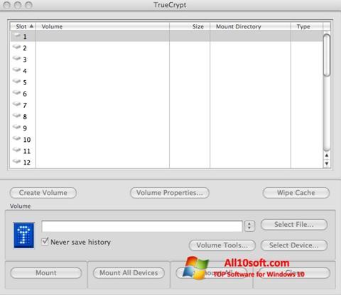 Снимак заслона TrueCrypt Windows 10