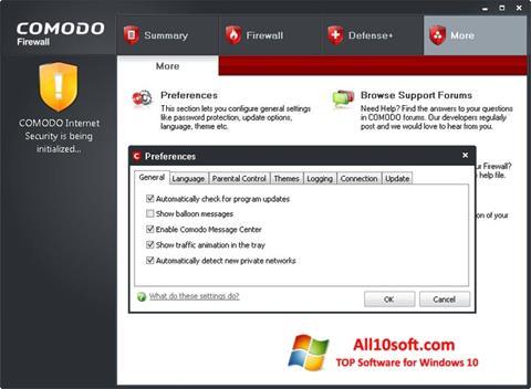 Снимак заслона Comodo Firewall Windows 10