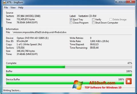 Снимак заслона ImgBurn Windows 10