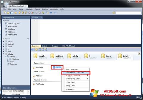 Снимак заслона MySQL Workbench Windows 10