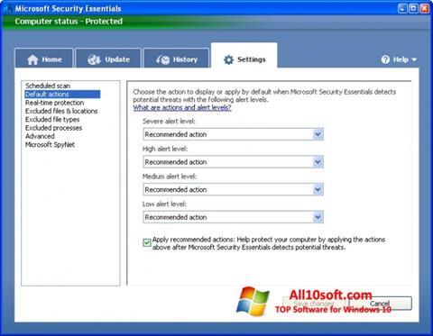 Снимак заслона Microsoft Security Essentials Windows 10