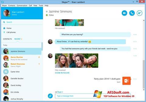 Снимак заслона Skype Windows 10