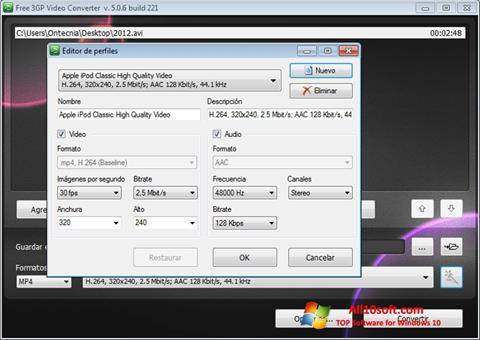 Снимак заслона Free MP4 Video Converter Windows 10